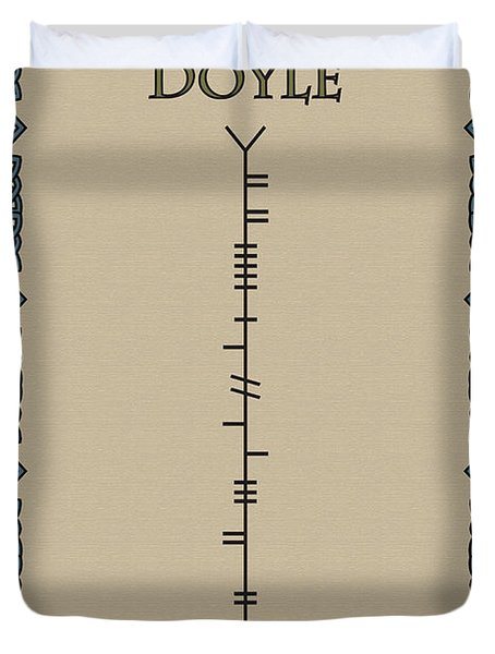 Duvet Cover featuring the digital art Doyle Written In Ogham by Ireland Calling