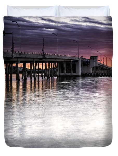 Drawbridge At Sunset Duvet Cover by Fran Gallogly