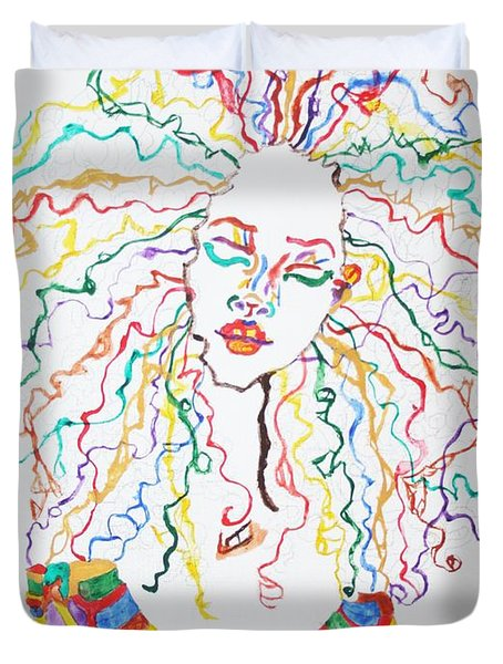 Duvet Cover featuring the painting Dreadlocks Piano Goddess by Stormm Bradshaw