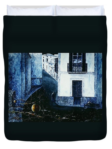 Duvet Cover featuring the painting Dream  Walker by Hartmut Jager