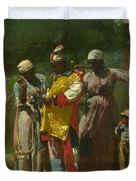 Dressing For The Carnival Duvet Cover by Winslow Homer