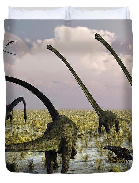 Duckbill Dinosaurs And Large Sauropods Duvet Cover by Mark Stevenson