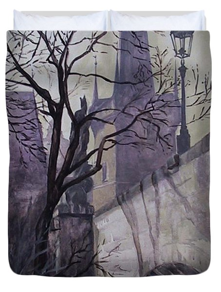 Duvet Cover featuring the painting Dusk At The Charles Bridge by Marina Gnetetsky