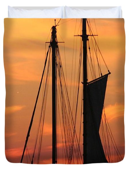 Edith M Becker At Sister Bay Marina Duvet Cover