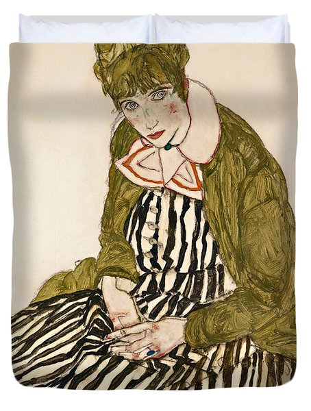 Edith With Striped Dress Sitting Duvet Cover