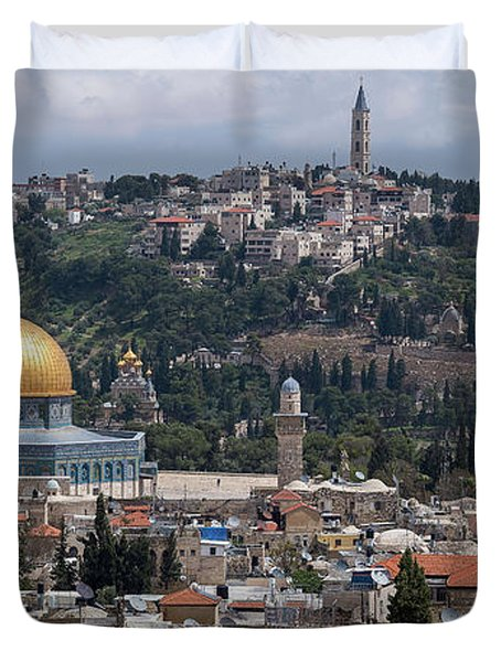 Elevated View Of A City, Old City Duvet Cover