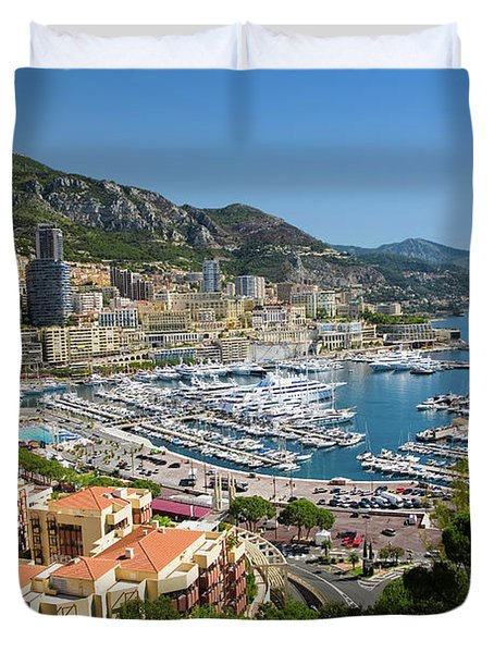Elevated View Of Monte-carlo And Harbor Duvet Cover