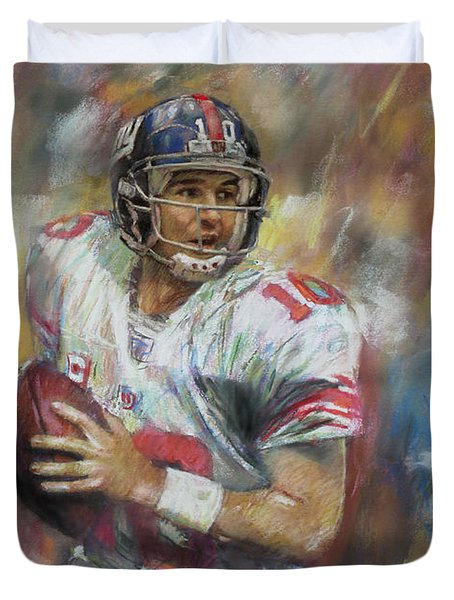 Eli Manning Nfl Ny Giants Duvet Cover by Viola El