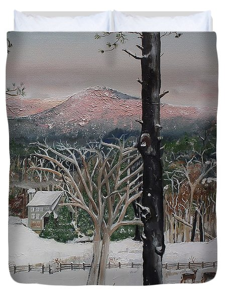 Duvet Cover featuring the painting Ellijay - Pink Knob Mountain - Signed by Jan Dappen