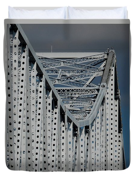 Duvet Cover featuring the photograph New Orleans Crescent City Connection Erector Set Bridge by Michael Hoard