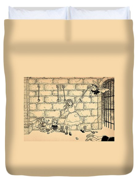 Duvet Cover featuring the drawing Escape by Reynold Jay