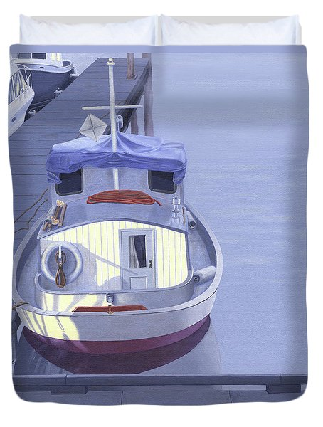 Duvet Cover featuring the painting Evening At Port Hardy by Gary Giacomelli