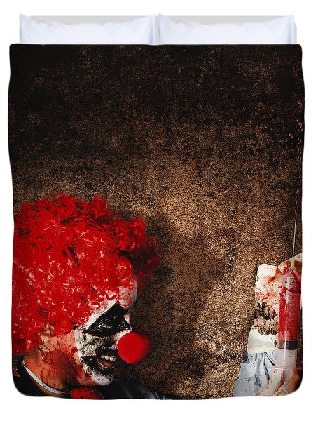 Evil Halloween Clown With Big Scary Needle Duvet Cover