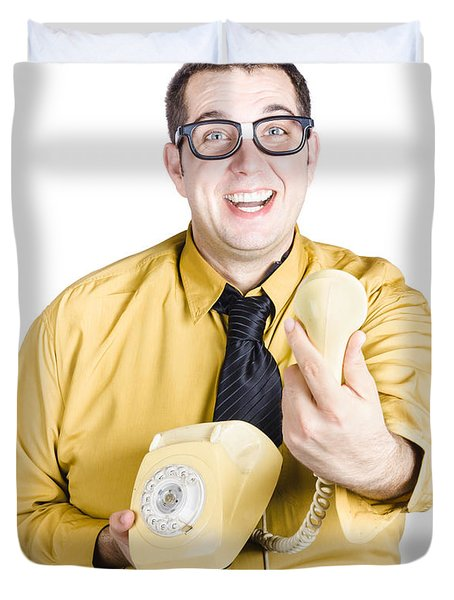 Excited Man Handing Over Telephone Duvet Cover