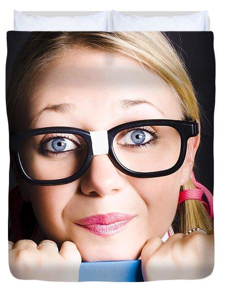 Face Of Smart Schoolgirl Holding Textbook On Black Duvet Cover