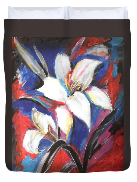 Duvet Cover featuring the painting Fair Pure Fragile White Lilies by Esther Newman-Cohen