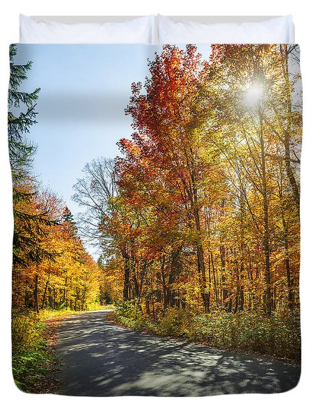 Fall Forest Road Duvet Cover