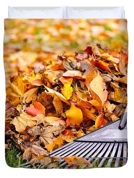 Fall Leaves With Rake Duvet Cover