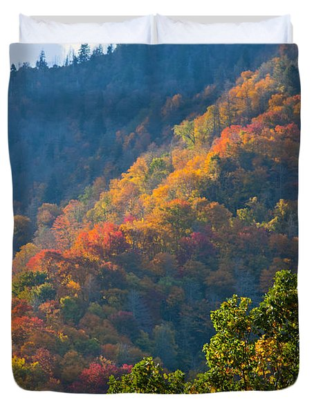 Fall Smoky Mountains Duvet Cover by Melinda Fawver