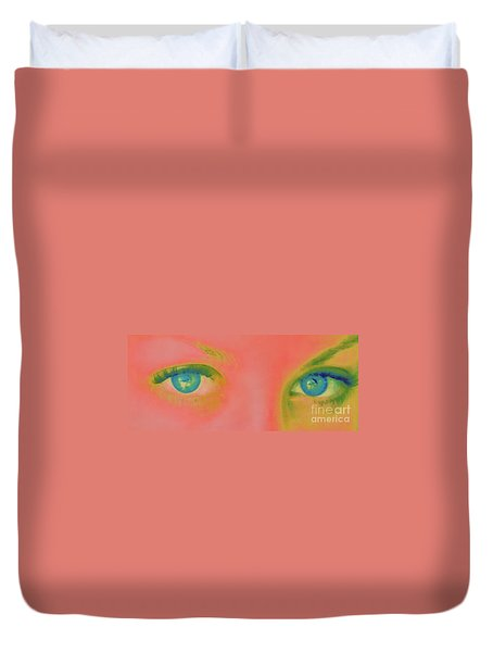 Duvet Cover featuring the painting Far Away Eyes by Janice Westerberg