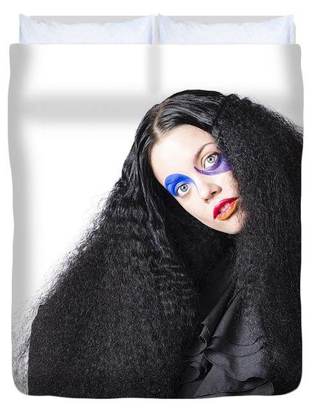 Fashion Model In Black Duvet Cover
