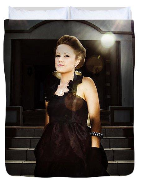 Fashion Model On Steps Duvet Cover