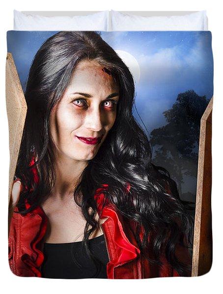 Female Halloween Zombie Holding Undead Hand Duvet Cover