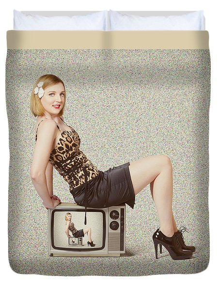 Female Television Show Actress On Old Tv Set Duvet Cover by Jorgo Photography - Wall Art Gallery