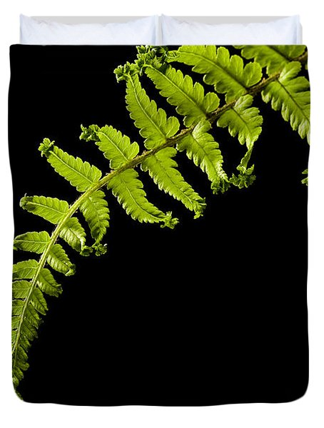 Duvet Cover featuring the photograph Fern With Raindrop by Trevor Chriss