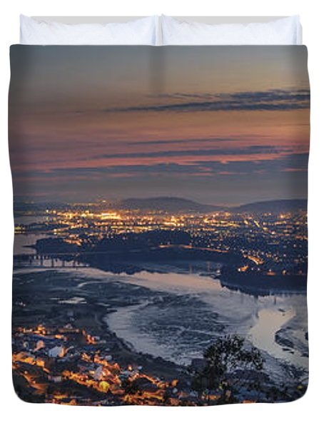 Ferrol's Ria Panorama From Mount Ancos Galicia Spain Duvet Cover by Pablo Avanzini