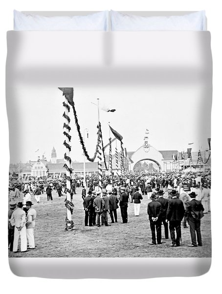 Duvet Cover featuring the photograph Festival Place Millerntor Hamburg Germany 1903 by A Gurmankin