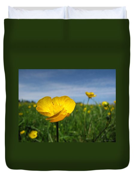 Field Of Buttercups Duvet Cover by Matt Taylor