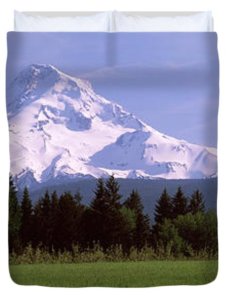 Field With A Snowcapped Mountain Duvet Cover