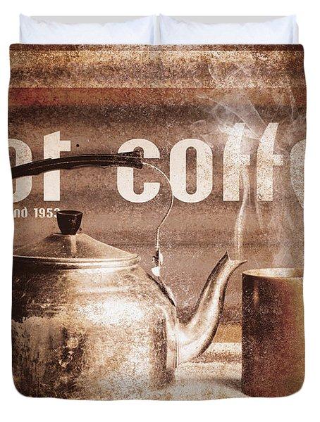 Fine Art Coffee Shop Tin Sign Insignia Duvet Cover