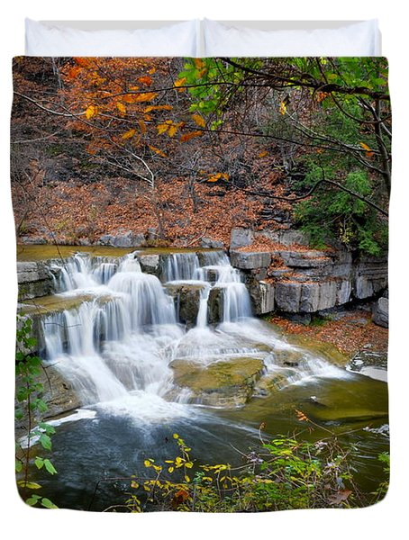 Finger Lakes Waterfall Duvet Cover by Frozen in Time Fine Art Photography