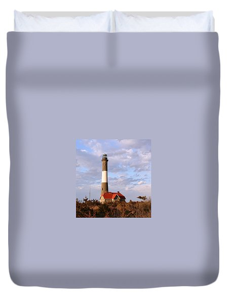 Duvet Cover featuring the photograph Fire Island Lighthouse by Karen Silvestri