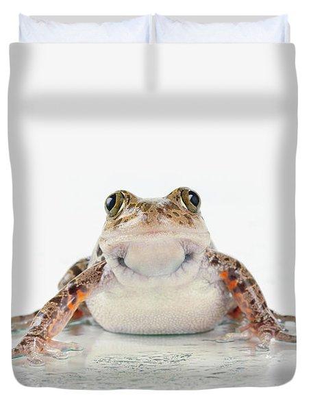 Fire-leg Walking Frog On White Duvet Cover by Corey Hochachka