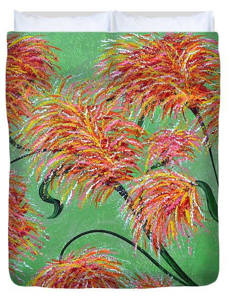 Duvet Cover featuring the painting Fireworks by Alys Caviness-Gober