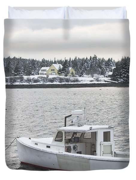 Fishing Boat After Snowstorm In Port Clyde Harbor Maine Duvet Cover by Keith Webber Jr