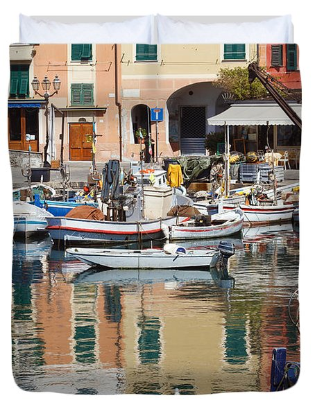 Duvet Cover featuring the photograph fishing boats in Camogli  by Antonio Scarpi