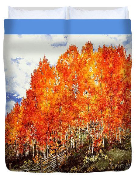 Duvet Cover featuring the painting Flaming Aspens 2 by Barbara Jewell