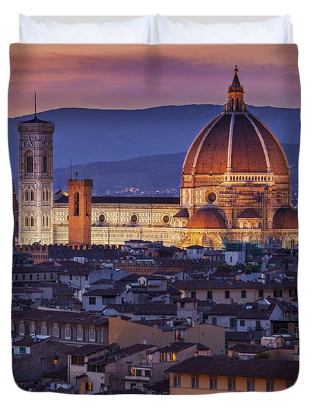 Duvet Cover featuring the photograph Florence Duomo by Brian Jannsen