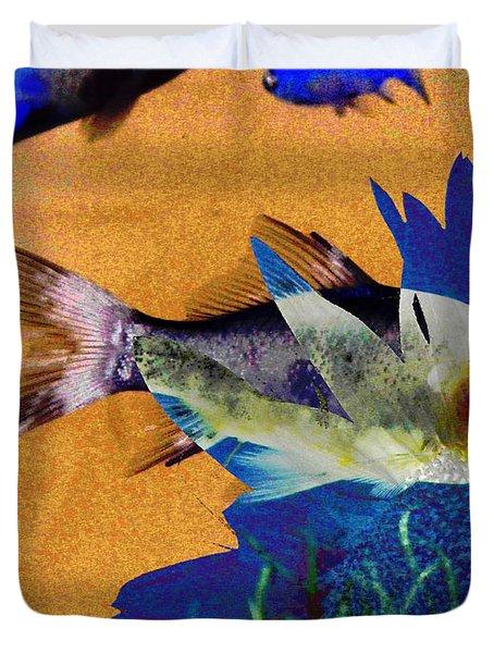 Flowers And Fins Duvet Cover by Lenore Senior