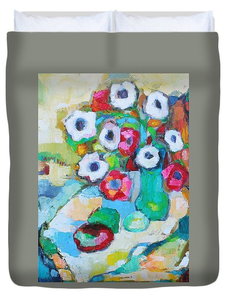 Flowers In Green Vase Duvet Cover by Becky Kim