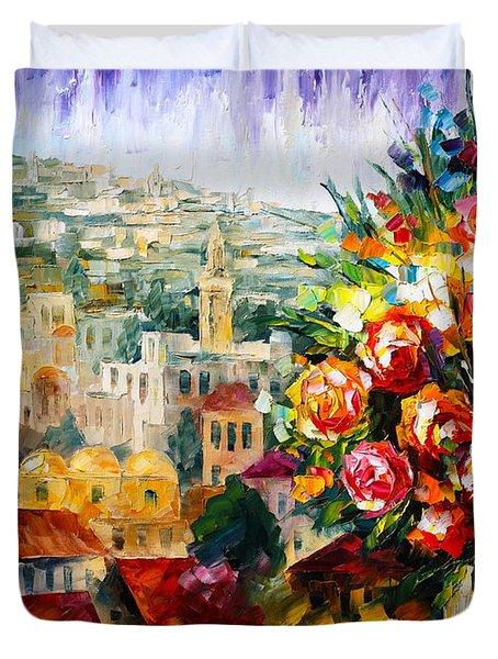 Flowers Of Jerusalem Duvet Cover by Leonid Afremov