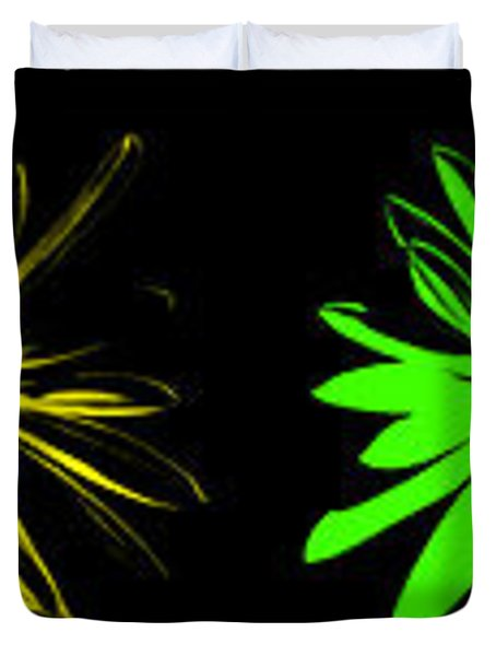 Duvet Cover featuring the digital art Flowers On Black by Maggy Marsh