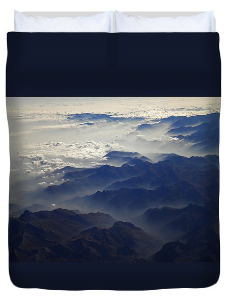 Flying Over The Alps In Europe Duvet Cover