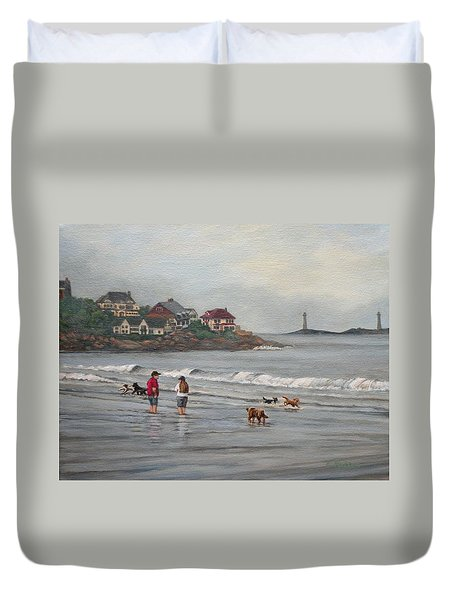 Fog Rolling In On Good Harbor Beach Duvet Cover by Eileen Patten Oliver