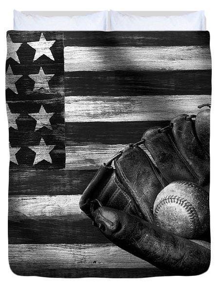 Folk Art American Flag And Baseball Mitt Black And White Duvet Cover