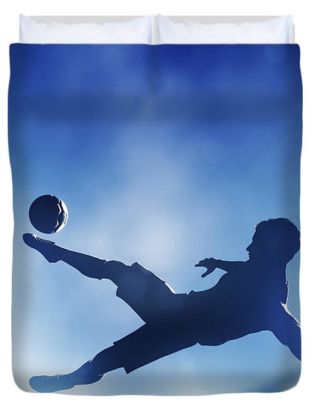 Football Soccer Match A Player Shooting On Goal Duvet Cover by Michal Bednarek